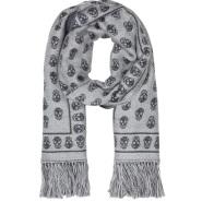 SSENSE:Alexander McQueen灰白色骷髅头羊毛流苏围巾$395(约2528元)