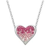 漸變粉色施華洛世奇水晶心形項鏈 $19(約132元)