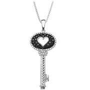 七夕鎖住她的心!1/4克拉黑白鉆石精美鑰匙項鏈 $99(約689元)