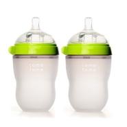最近妈妈们一直在抢着买它!Comotomo 可么多么 乳感硅胶奶瓶 250ml 2只装 绿色/粉色