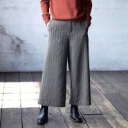 Belle Maison 千趣会 羊毛混纺冬季气质竖条纹阔腿裤