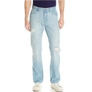 Calvin Klein 男款破洞直筒牛仔裤