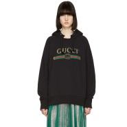 【春夏新款】Gucci 黑色刺绣连帽卫衣