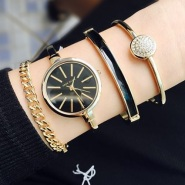 超值低价!【中亚Prime会员】Anne Klein 安妮克莱恩 AK/1470 GBST 女士手表手链套装