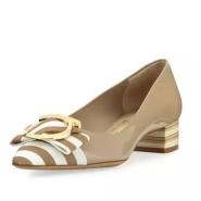 只剩37.5码 Salvatore Ferragamo 漆皮条纹蝴蝶结装饰单鞋 $298(约2159元)