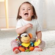 【中亚Prime会员】Skip Hop 宝宝毛绒牙胶手摇铃玩具 猴子款