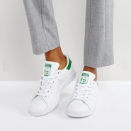 【免费直邮到手!】Adidas Originals 三叶草 Stan Smith 女士运动鞋 绿尾/蓝尾