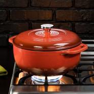 【中亚Prime会员】Lodge 洛极 EC6D68 红色搪瓷铸铁锅 6.6升