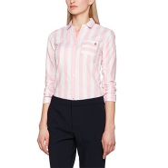 【德亚直邮】Tommy Hilfiger 女士全棉粉色条纹休闲衬衫