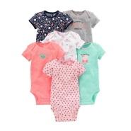 【Prime 会员专享】Simple Joys by Carter's 卡特 女童短袖连体衣爬行服6件套
