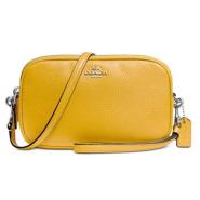 【可直邮中国!】COACH 蔻驰 鹅卵石牛皮亮黄色相机包
