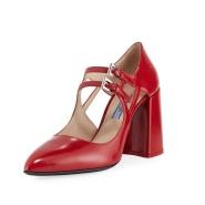 还有37码 Prada 普拉达 漆皮双扣玛丽珍鞋 双色可选