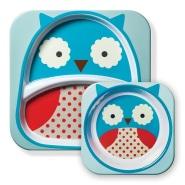 【中亚Prime会员】Skip Hop 可爱动物园餐具碗碟套组 猫头鹰款