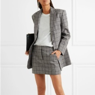 【限时8折】Tibi Aldridge 格纹羊毛混纺花呢西装式外套