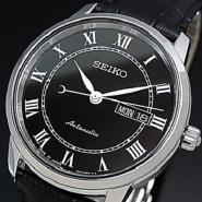 【星期五指定银行卡最高20%积分返还+7%返利】SEIKO 精工 黑色表盘黑色皮带机械表 SRP765J2