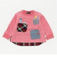 【日本乐天国际】圆领拼接款女童上衣 粉红色 80cm