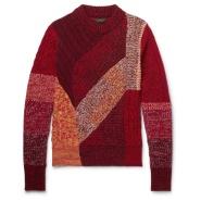 【独家款】Burberry 男士拼接羊绒羊毛混纺毛衣