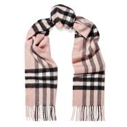 【8折最后一天!】Burberry 巴宝莉粉色流苏格纹羊绒围巾