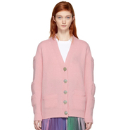 Christopher Kane Pink Stacked Pocket Cardigan 粉色羊毛开衫