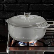 新低价!【中亚Prime会员】Lodge 洛极 EC6D05 搪瓷铸铁锅 6.6升 灰色
