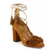 【2.4折!2色选】Aquazzura Wild Fringed 麂皮系带高跟鞋
