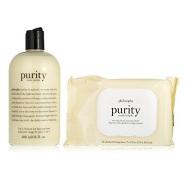 【中亚Prime会员】Philosophy Purity 三合一/一步到位 洁面乳480ml+卸妆洁面湿巾30片