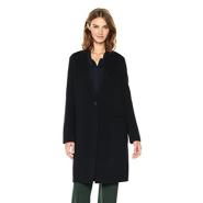 【美亚直邮】Theory Essential 羊毛羊绒一粒扣女士长款混纺大衣外套