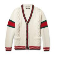 【仅剩几件】Gucci 古驰 Stripe-Trimmed Cable-Knit 男士羊毛开衫
