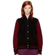 Marc Jacobs Burgundy & Black Knit Varsity Bomber Jacket 拼色飞行员夹克