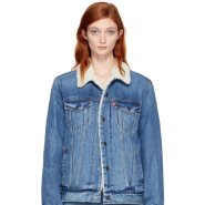 Levi's Blue Type 3 Trucker Sherpa Denim Jacket 女款羊羔绒牛仔外套