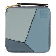 Loewe Blue Small Puzzle Zip Around Wallet 同色系拼色雾霾蓝钱包