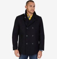 Nautica 诺帝卡 WOOL BLEND PEACOAT 男士羊毛混纺双排扣大衣