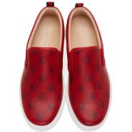 Gucci Red Gucci Ghost Dublin Slip-On Sneakers 男款真皮一脚蹬休闲鞋