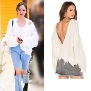 【杨幂同款】Wildfox Couture 不规则下摆设计 Oversized 针织上衣 黑白两色可选