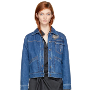 Isabel Marant Blue Embroidered Denim Ensley Jacket 女款牛仔外套