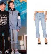 【倪妮同款】RE/DONE 高腰直筒裤口牛仔裤