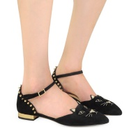 【大码福利!限时高返】Charlotte Olympia Mid-Century 女士猫咪黑色麂皮平底鞋