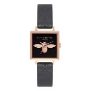 【首单9折】OLiva Burton 小蜜蜂系列 OB16AM128 方形3D表面时尚腕表 玫瑰金