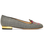 Charlotte Olympia Black & White Houndstooth Kitty Flats 女款优雅格纹猫头鞋