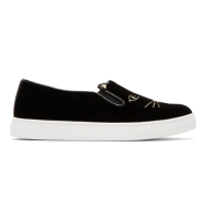 Charlotte Olympia Black Velvet Cool Cats Slip-On Sneakers 女款猫头一脚蹬