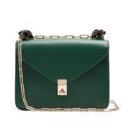 绿色控看过来~Valentino Panther-embellished small leather shoulder bag 绿色真皮链条包