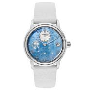 【4.1折】Blancpain 宝铂 Women Double Time Zone 系列 3760-1144-95A 女士淡蓝色珍珠母手表