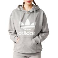 adidas Originals Logo Hoodie 女款灰色卫衣