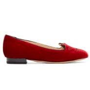 Charlotte Olympia  Red Velvet Kitty Flats 红色天鹅绒款猫头鞋