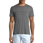 额外7.5折码全 Burberry 巴宝莉 Martford Logo 印字棉质男士T恤 灰色