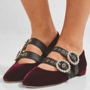 【5折!手慢无】Miu Miu Crystal-embellished leather-trimmed 女士丝绒芭蕾舞平底鞋