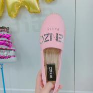 新低价,5姐晒单相似款~Kenzo Pink Suede Logo Espadrilles 女款粉色logo图案草底鞋