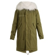 Mr & Mrs Italy Fur-trimmed canvas parka 军绿色皮草大衣