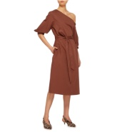 Tibi 不规则单肩棉质连衣裙