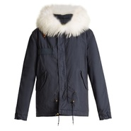 MR & MRS ITALY Fur-trimmed canvas mini parka 海军蓝短款时尚外套